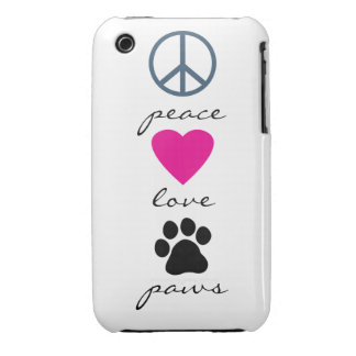 Peace Love Paws iPhone 3 Case
