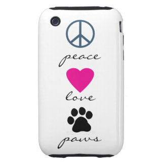Peace Love Paws Tough iPhone 3 Covers