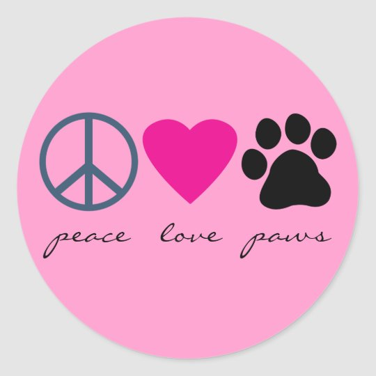 Peace Love Paws Classic Round Sticker