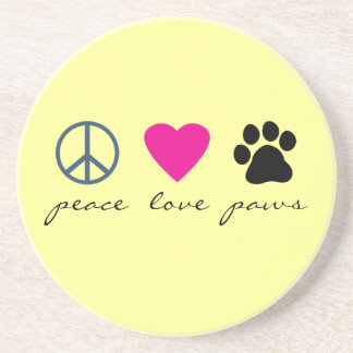 Peace Love Paws Beverage Coaster