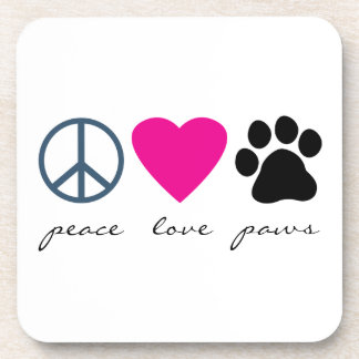 Peace Love Paws Beverage Coasters