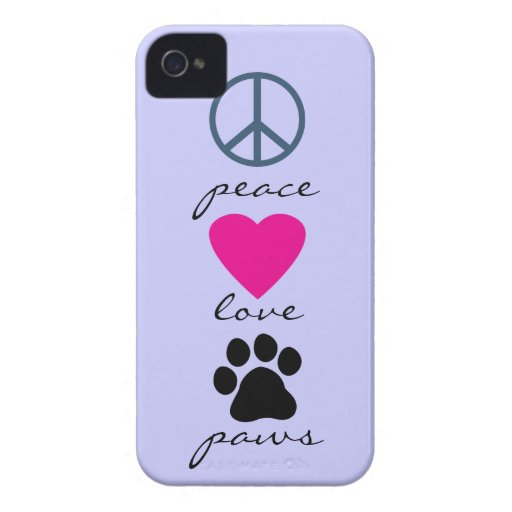 Peace Love Paws iPhone 4 Case-Mate Cases