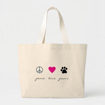 Peace Love Paws Jumbo Tote Bag
