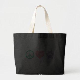 Peace Love & Paws Jumbo Tote Bags
