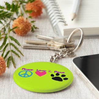 Peace Love & Paws Keychain