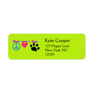 Peace Love & Paws Label