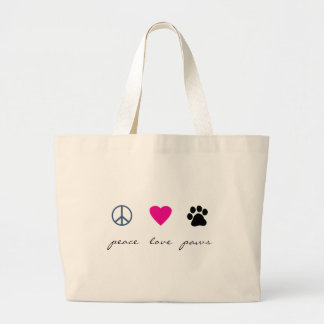 Peace Love Paws Large Tote Bag