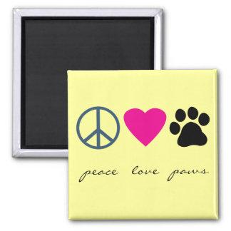 Peace Love Paws Fridge Magnet