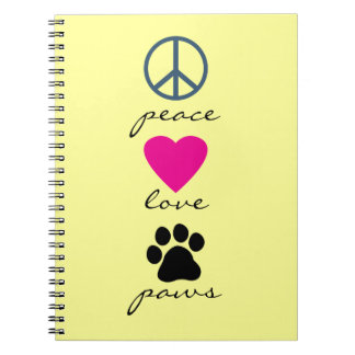 Peace Love Paws Spiral Note Books