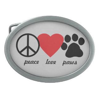 Peace Love Paws Oval Belt Buckle