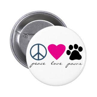 Peace Love Paws Pinback Button