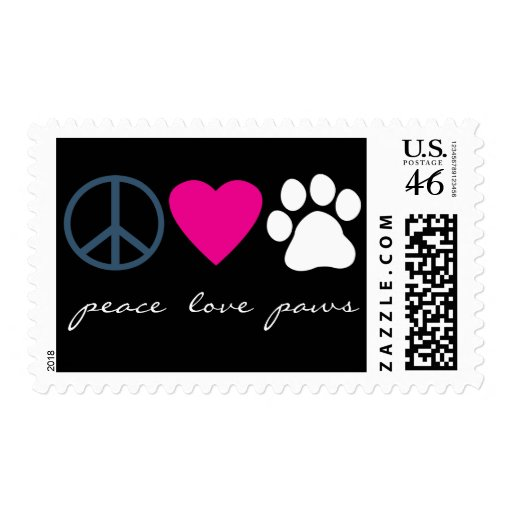 Peace Love Paws Postage Stamp