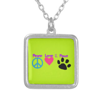 Peace Love & Paws Silver Plated Necklace