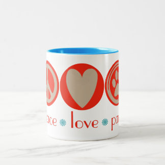 Peace Love Paws Two-Tone Coffee Mug