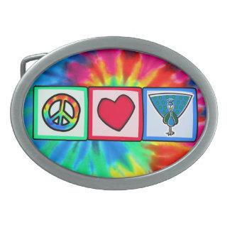 Peace, Love, Peacocks Belt Buckles