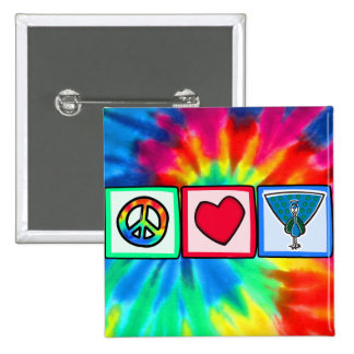 Peace, Love, Peacocks Pinback Buttons