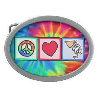 Peace, Love, Pelicans Oval Belt Buckle