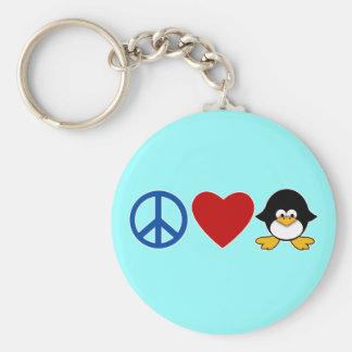 Peace Love Penguin Baby T-shirts, Mugs Basic Round Button Keychain