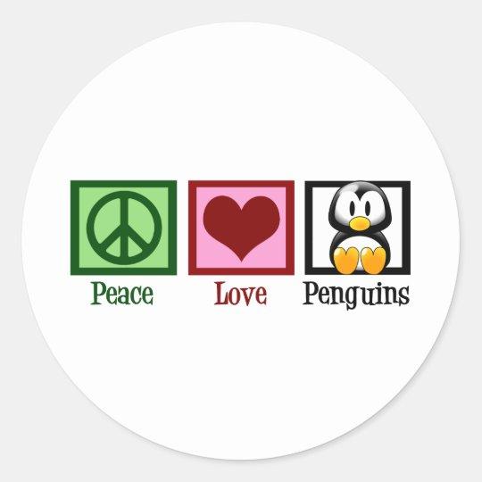 Peace Love Penguins Classic Round Sticker