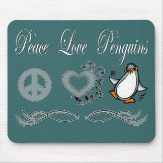 Peace Love Penguins Mouse Pad