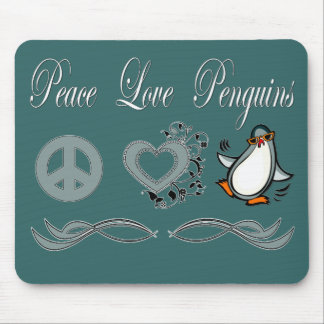 Peace Love Penguins Mouse Pads