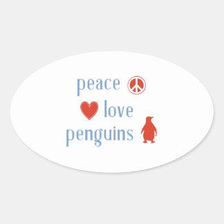 Peace Love Penguins Oval Sticker