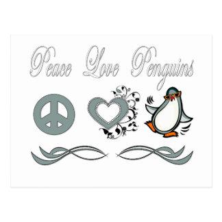 Peace Love Penguins Postcard
