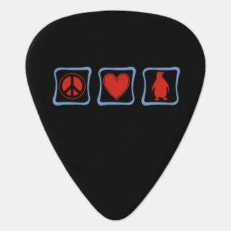 Peace Love Penguins squares Guitar Pick