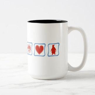 Peace Love Penguins squares Two-Tone Coffee Mug