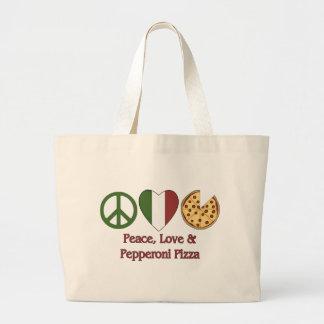 Peace, Love & Pepperoni Pizza Canvas Bags