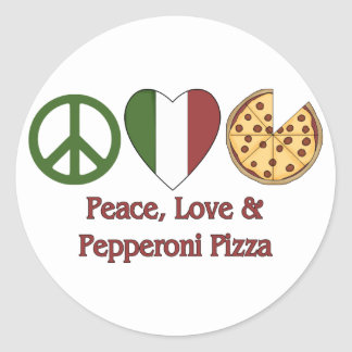 Peace, Love & Pepperoni Pizza Classic Round Sticker