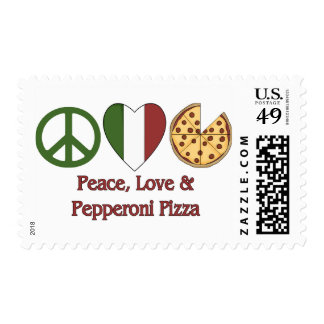 Peace, Love & Pepperoni Pizza Postage