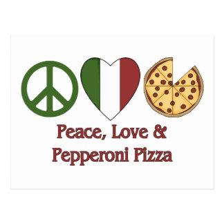Peace, Love & Pepperoni Pizza Postcard