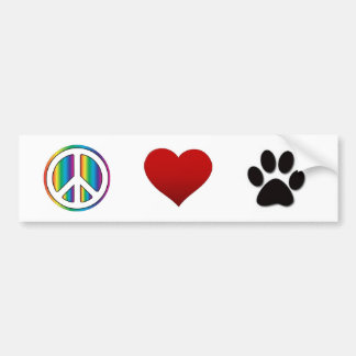 Peace Love Pets Bumper Sticker