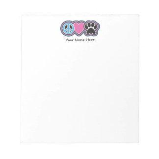 Peace-Love-Pets Notepad