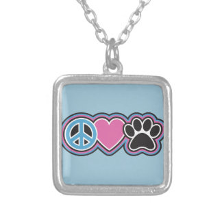 Peace-Love-Pets Silver Plated Necklace