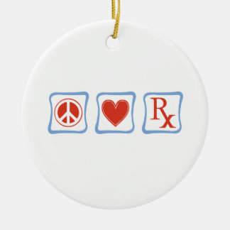 Peace Love Pharmacist Squares Ceramic Ornament