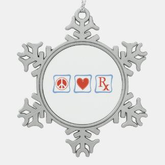 Peace Love Pharmacist Squares Snowflake Pewter Christmas Ornament