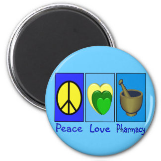 Peace Love Pharmacy 2 Inch Round Magnet