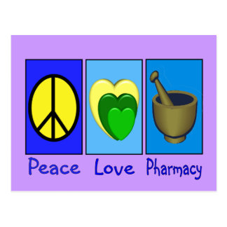 Peace Love Pharmacy Postcard
