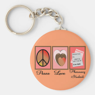 Peace Love Pharmacy Student Gifts Basic Round Button Keychain