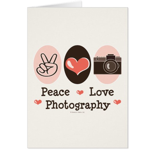 Peace Love Photography Camera Greeting Card