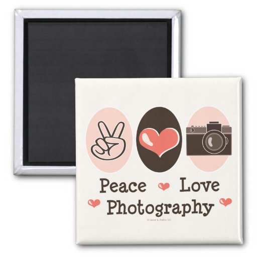 Peace Love Photography Camera Magnet