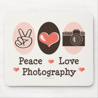 Peace Love Photography Camera Mousepad