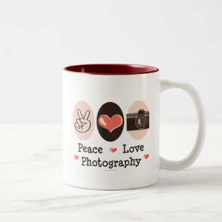 Peace Love Photography Camera Mug
