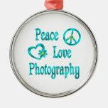 Peace Love Photography Christmas Tree Ornaments