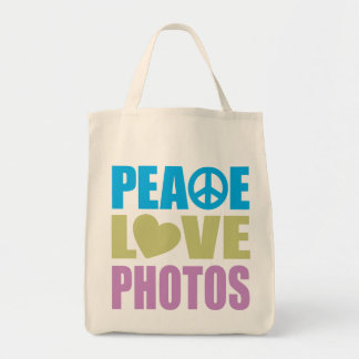 Peace Love Photos Grocery Tote Bag