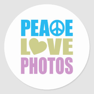 Peace Love Photos Classic Round Sticker