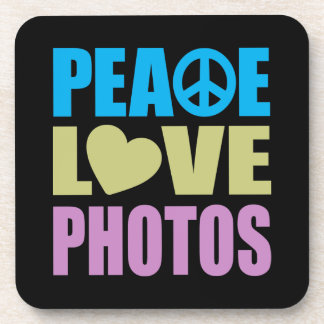 Peace Love Photos Beverage Coasters