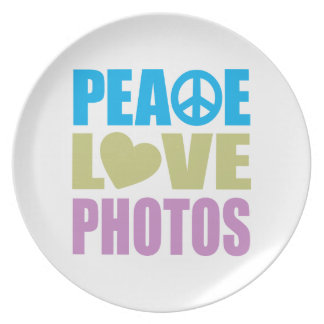 Peace Love Photos Melamine Plate